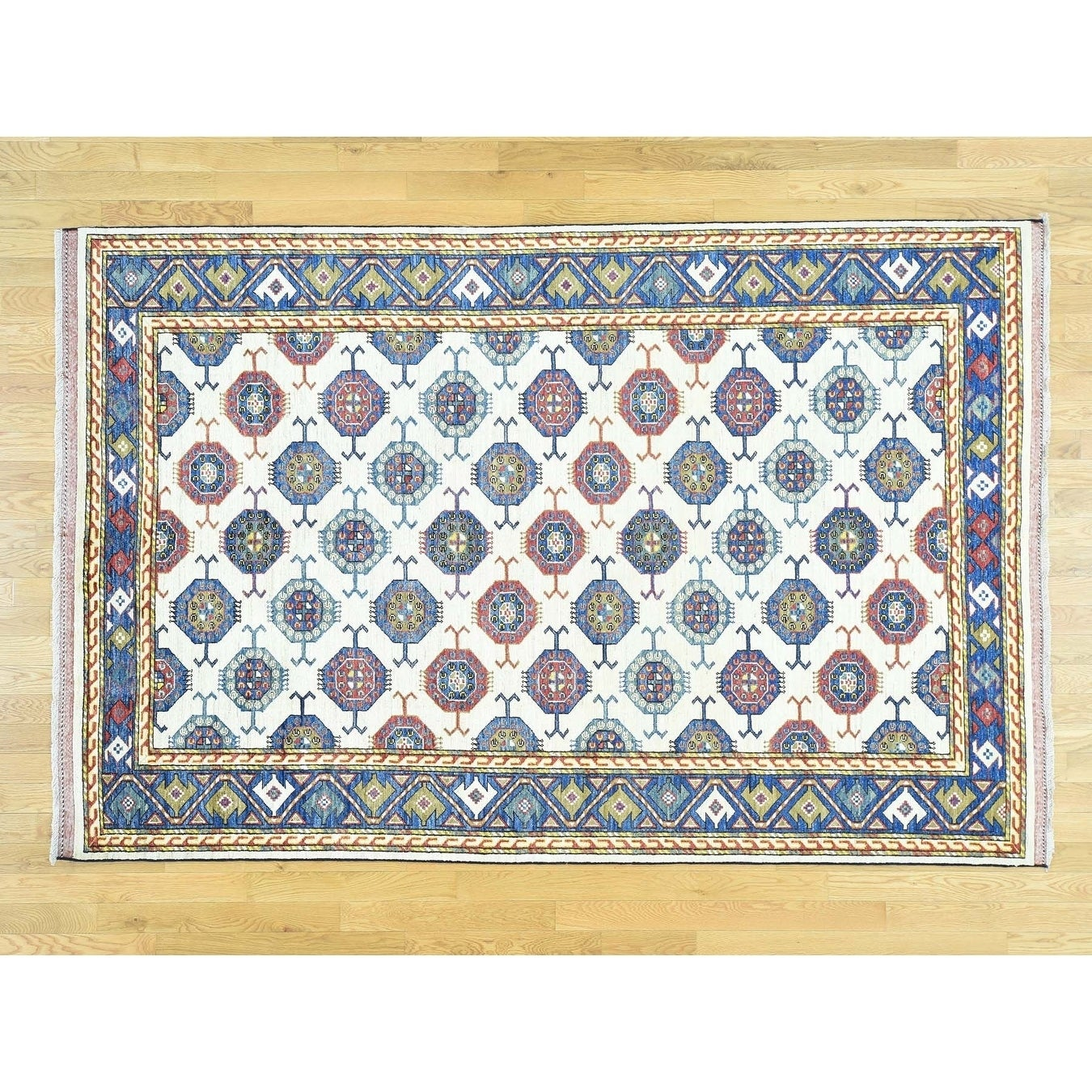 Hand Knotted Ivory Tribal & Geometric with Wool Oriental Rug - 6 x 91