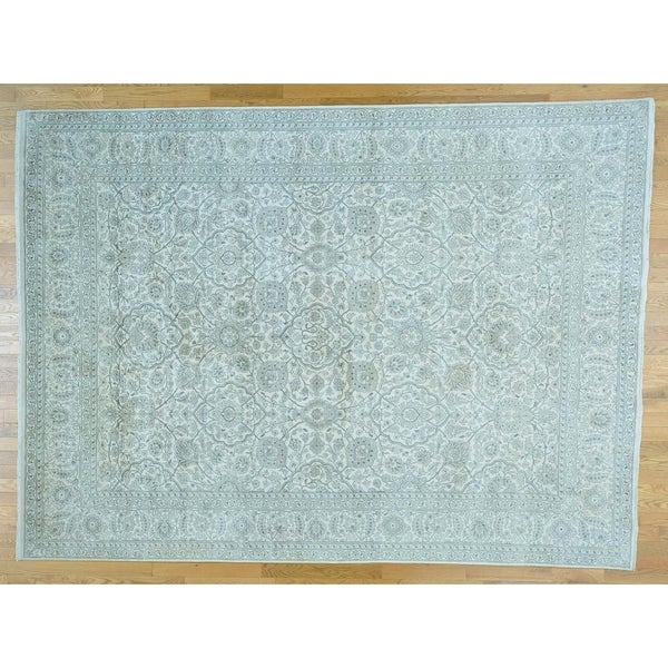Hand Knotted Ivory Fine Oriental with Silk Oriental Rug - 8'10 x 12'