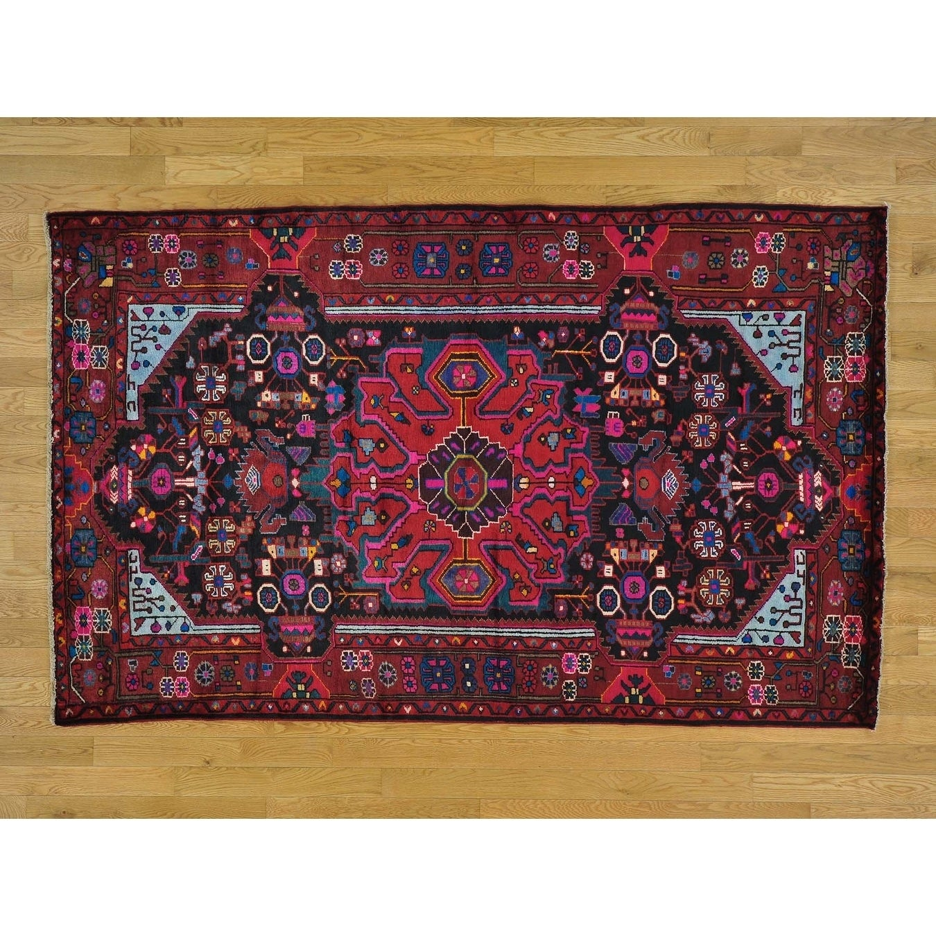 Hand Knotted Black Persian with Wool Oriental Rug - 4'10 x 7'10