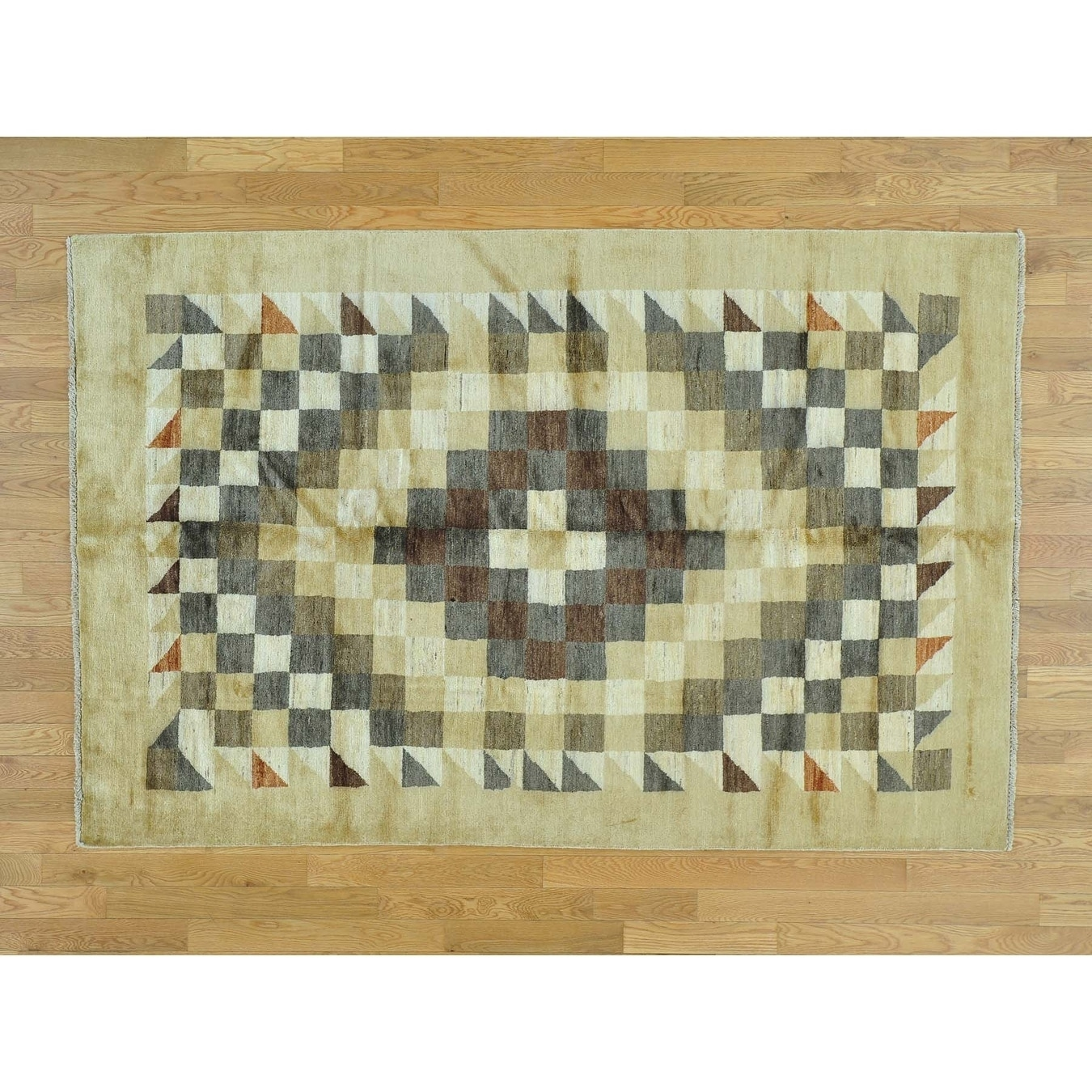 Hand Knotted Beige Clearance with Wool Oriental Rug - 52 x 710