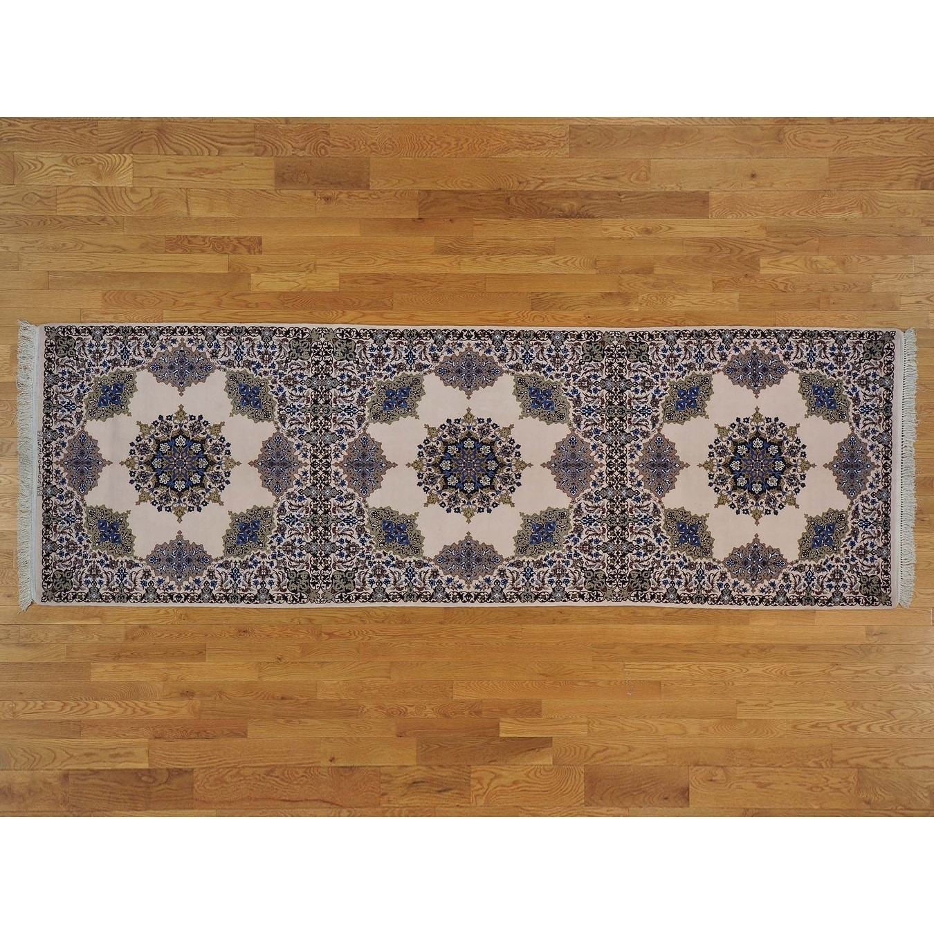 Hand Knotted Ivory Persian with Wool & Silk Oriental Rug - 42 x 128