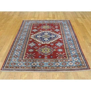 Hand Knotted Red Kazak with Wool Oriental Rug - 4'2 x 5'4