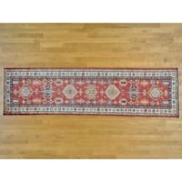 Hand Knotted Red Kazak with Wool Oriental Rug - 2'8 x 9'9
