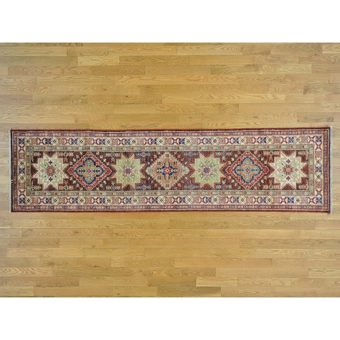 Hand Knotted Brown Kazak with Wool Oriental Rug - 26 x 910
