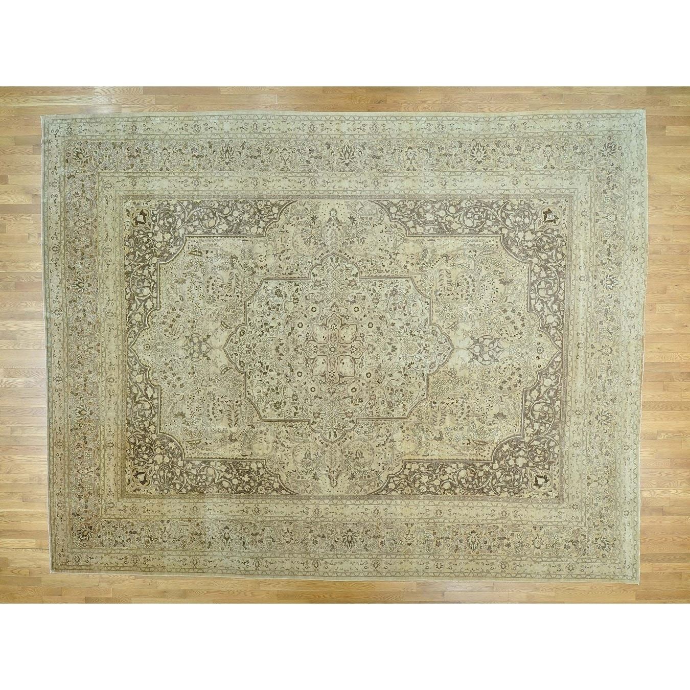 Hand Knotted Ivory Antique with Wool Oriental Rug