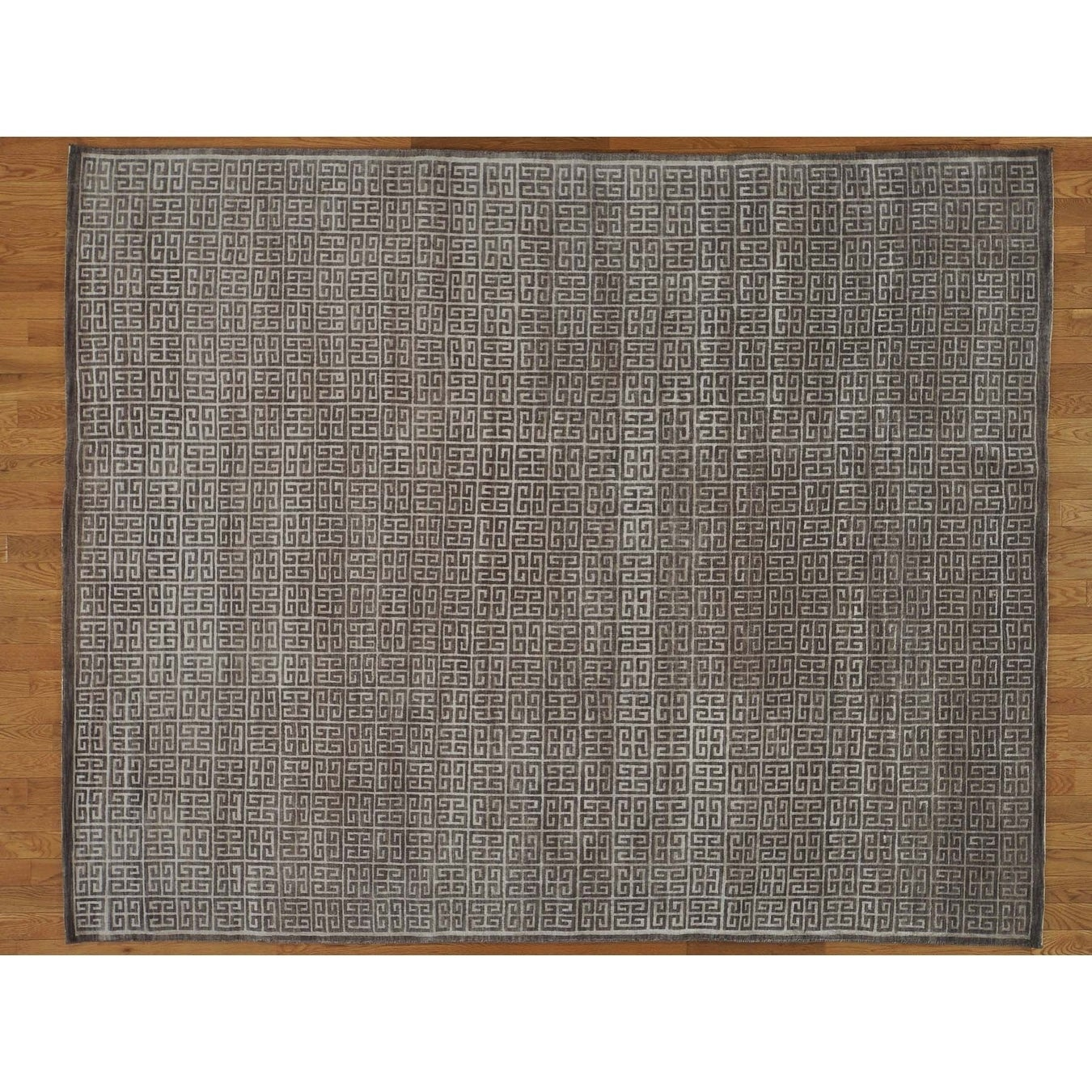 Hand Knotted Grey Modern & Contemporary with Wool & Silk Oriental Rug - 8 x 10