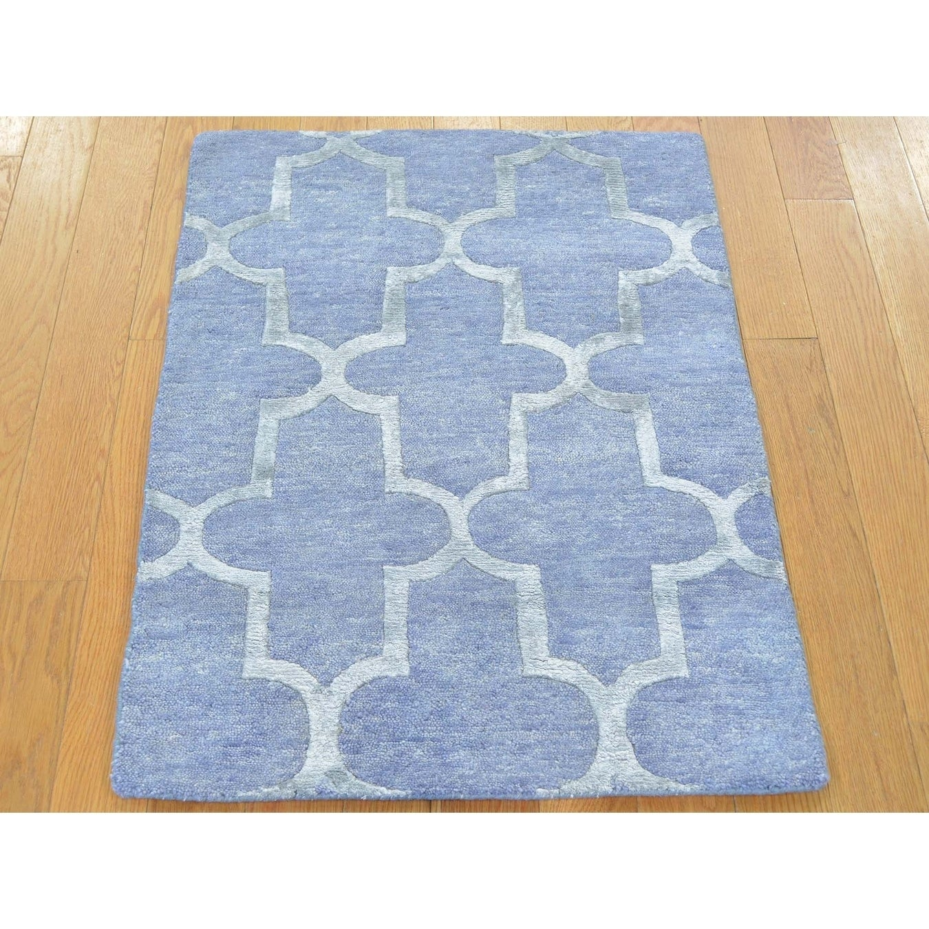 Hand Knotted Blue Modern & Contemporary with Wool & Silk Oriental Rug - 21 x 3