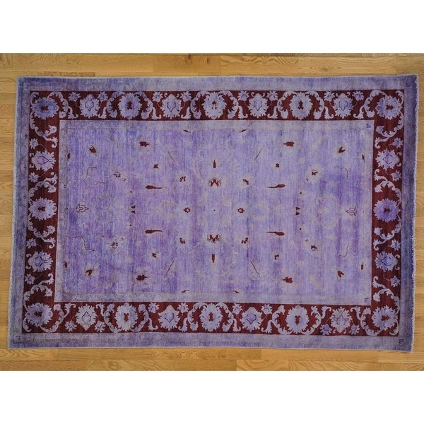 Hand Knotted Purple Oushak And Peshawar with Wool Oriental Rug - 6'8 x 9'10
