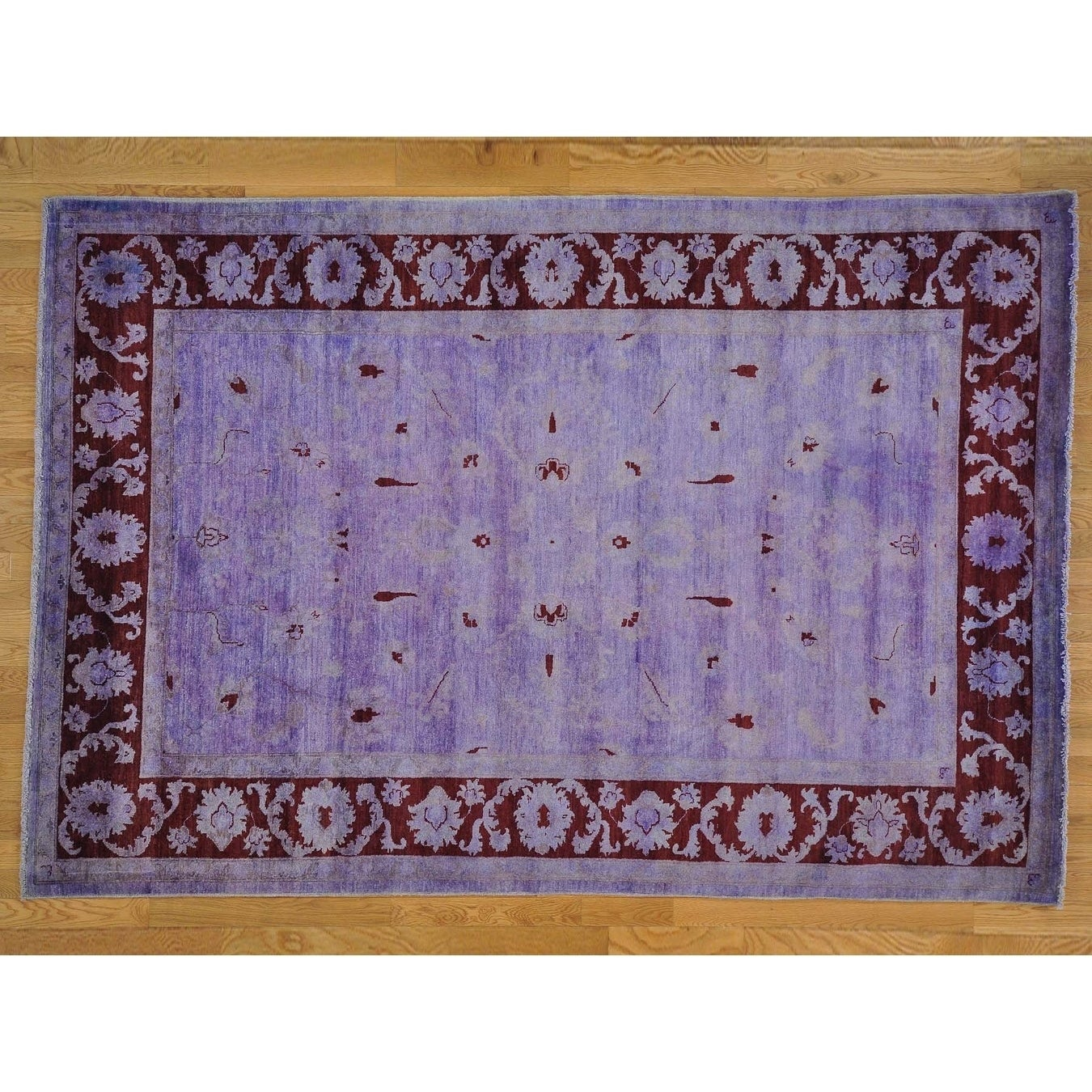 Hand Knotted Purple Oushak And Peshawar with Wool Oriental Rug - 68 x 910