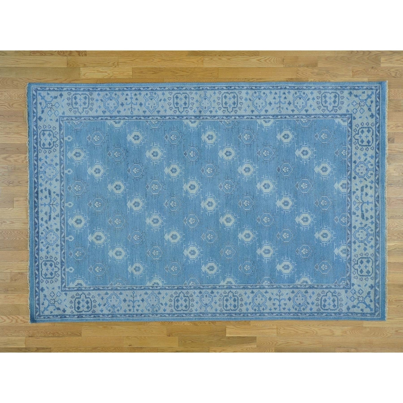 Hand Knotted Blue Oushak And Peshawar with Wool Oriental Rug - 6 x 9