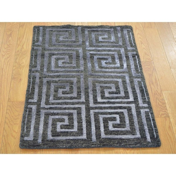 Hand Knotted Black Modern & Contemporary with Wool & Silk Oriental Rug - 2' x 2'10