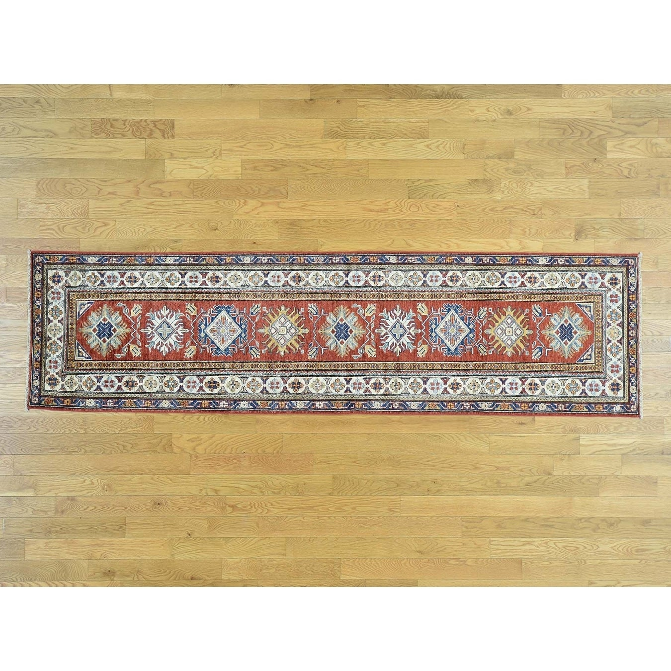 Hand Knotted Red Kazak with Wool Oriental Rug - 29 x 103