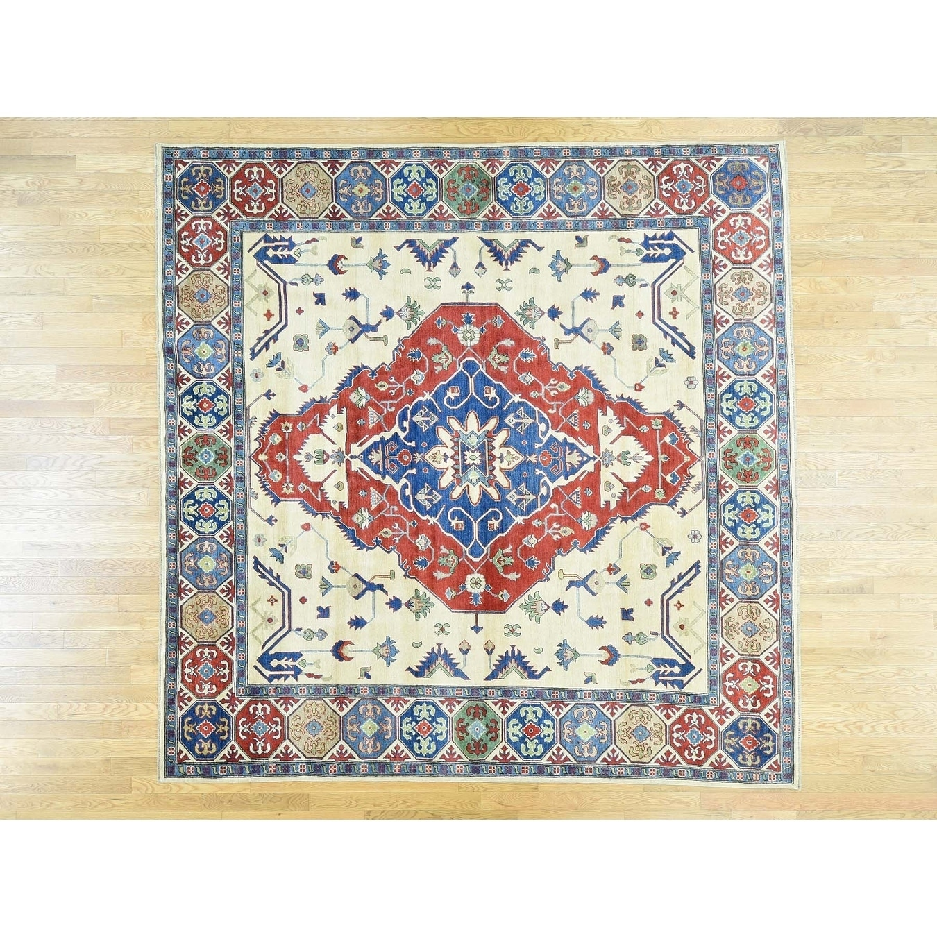 Hand Knotted Red Kazak with Wool Oriental Rug - 910 x 910