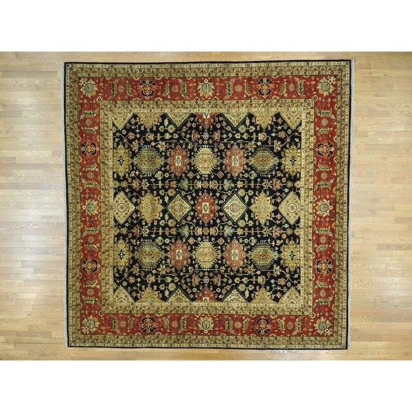 Hand Knotted Black Heriz with Wool Oriental Rug