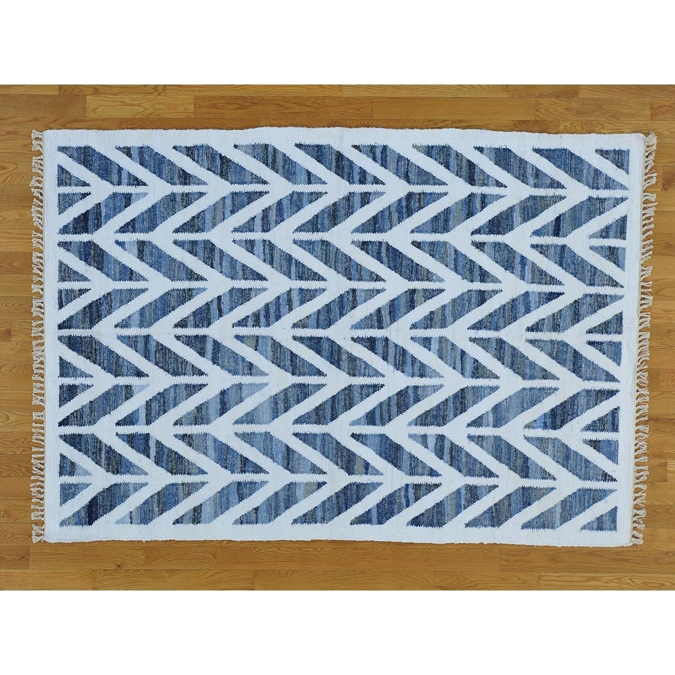 Hand Knotted Multicolored Flat Weave with Wool Oriental Rug - 5 x 73