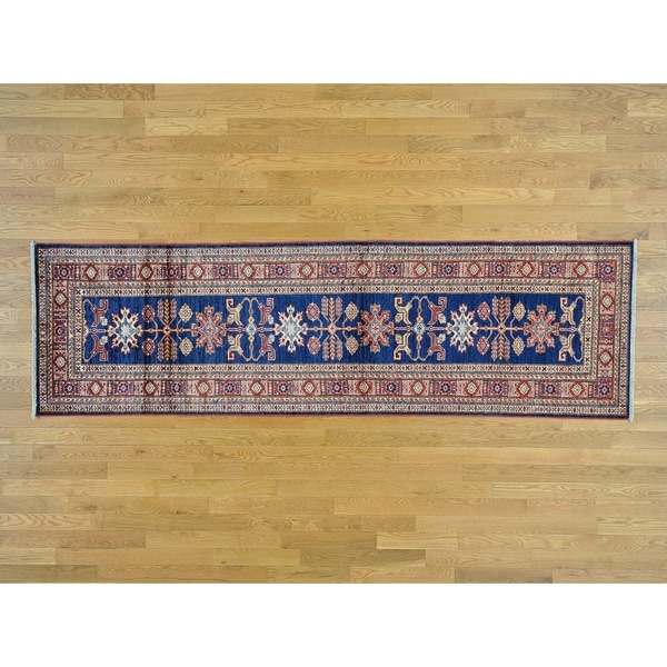 Hand Knotted Blue Kazak with Wool Oriental Rug - 2'9 x 9'4