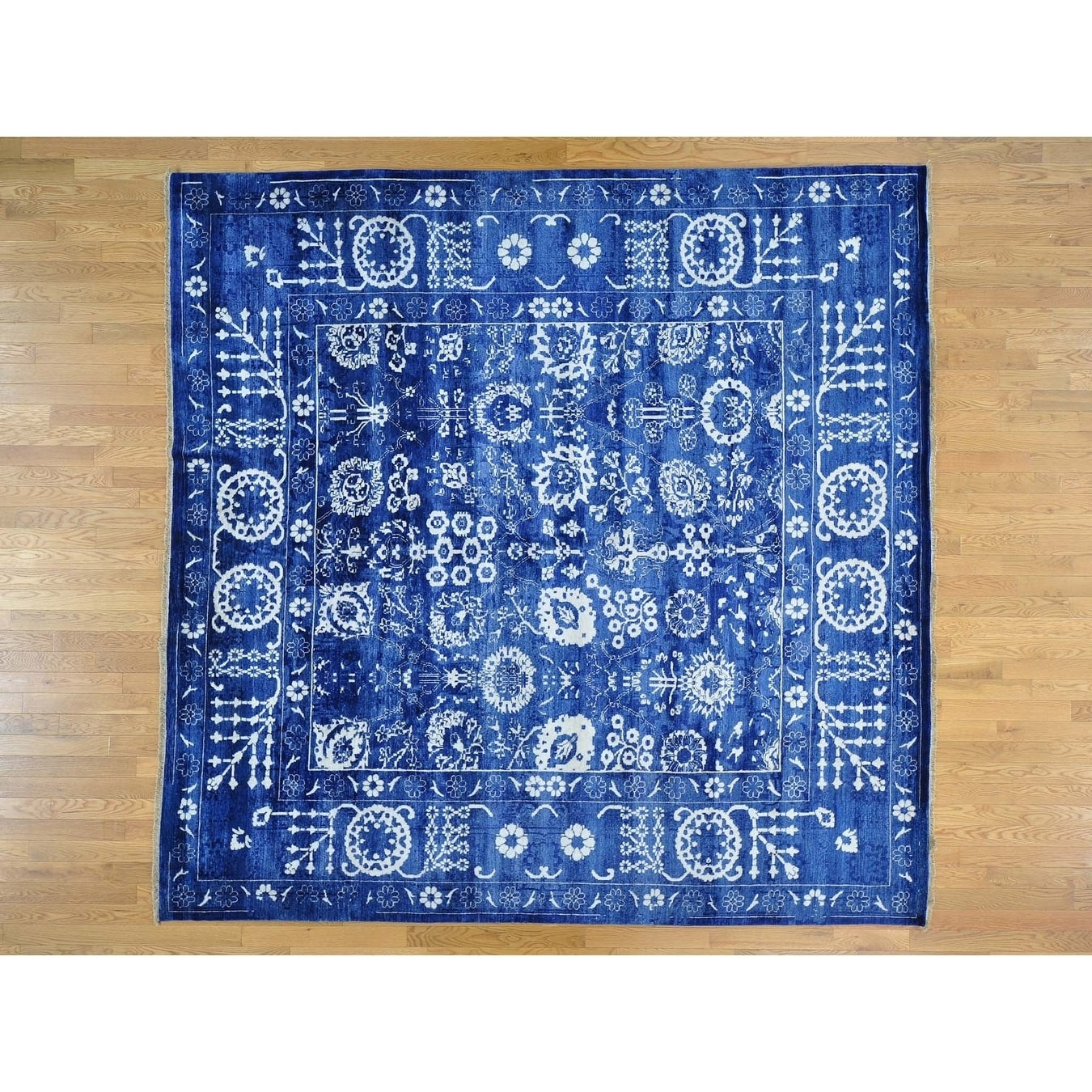 Hand Knotted Blue Modern & Contemporary with Wool & Silk Oriental Rug - 10 x 10