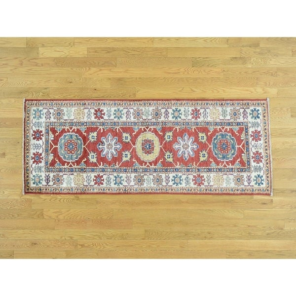 Hand Knotted Red Kazak with Wool Oriental Rug - 2'6 x 6'7