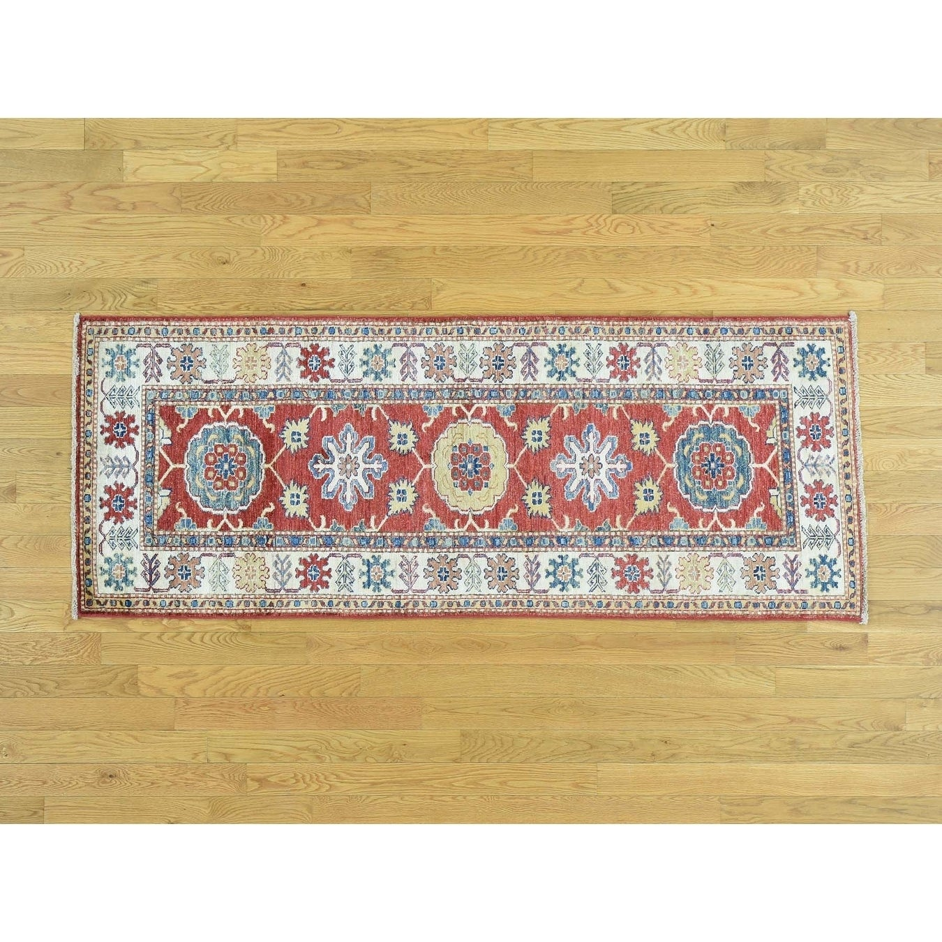 Hand Knotted Red Kazak with Wool Oriental Rug - 26 x 67