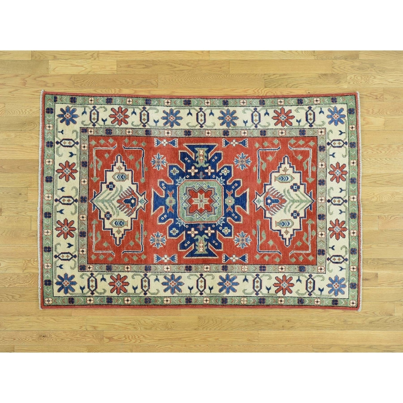 Hand Knotted Red Kazak with Wool Oriental Rug - 41 x 61