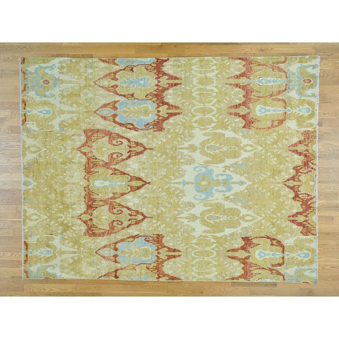 Hand Knotted Yellow Ikat And Suzani Design with Wool Oriental Rug - 78 x 10