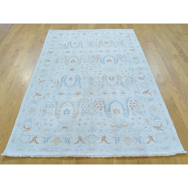 Hand Knotted Ivory Oushak And Peshawar with Wool Oriental Rug - 4' x 6'1