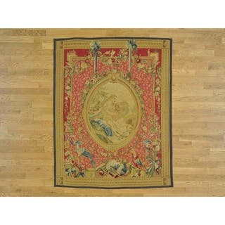 Hand Knotted Pink European with Wool Oriental Rug - 5' x 6'3