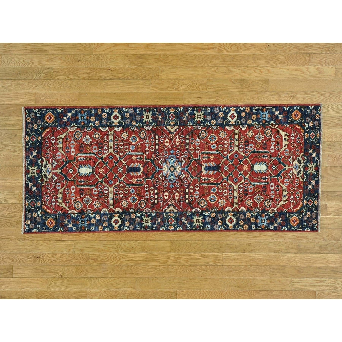 Hand Knotted Red Heriz with Wool Oriental Rug - 29 x 65