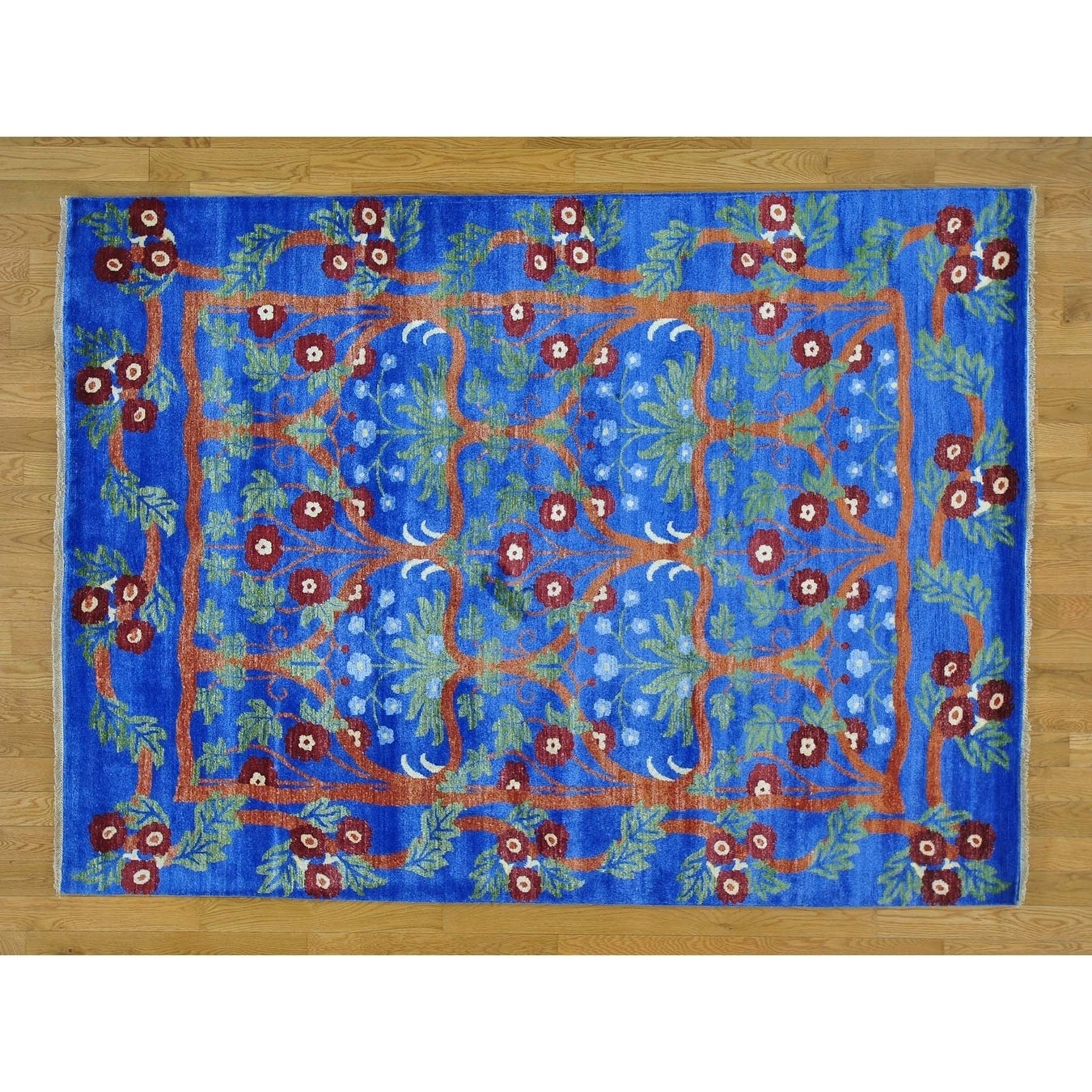 Hand Knotted Blue Arts And Crafts with Art Silk Oriental Rug - 58 x 78