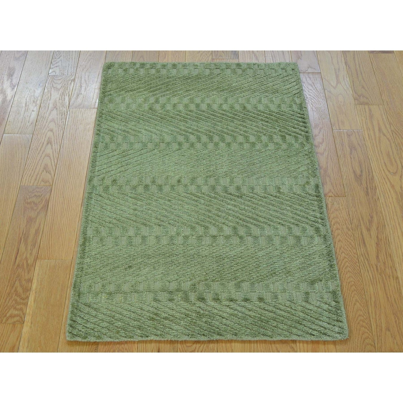 Hand Knotted Green Modern & Contemporary with Art Silk Oriental Rug - 2 x 3
