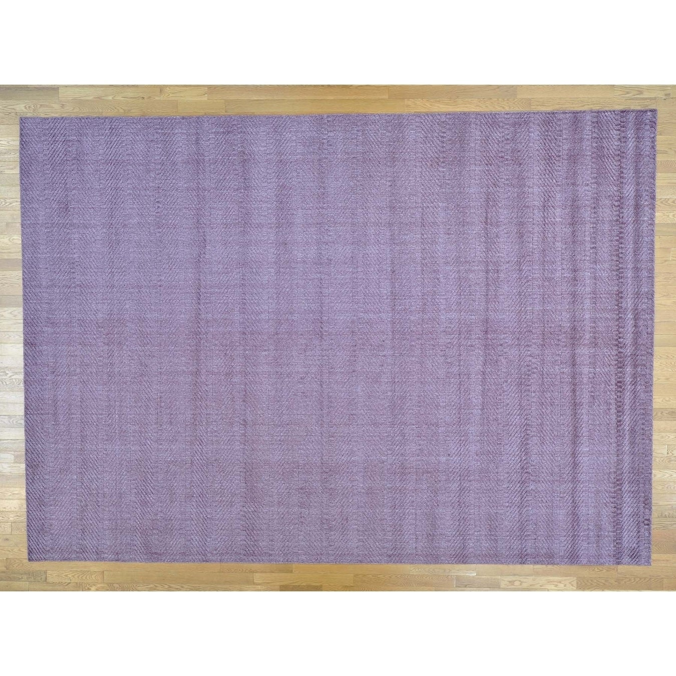 Hand Knotted Purple Modern & Contemporary with Wool & Silk Oriental Rug - 101 x 142
