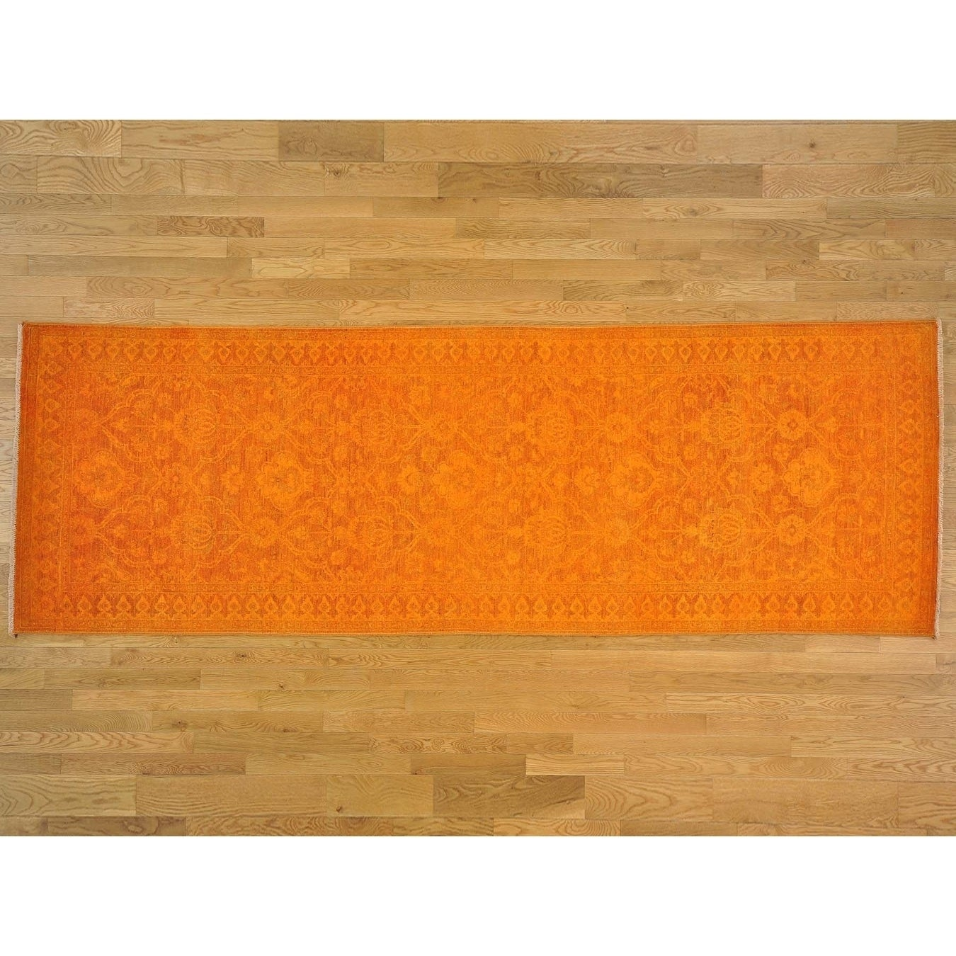 Hand Knotted Orange Oushak And Peshawar with Wool Oriental Rug - 41 x 121