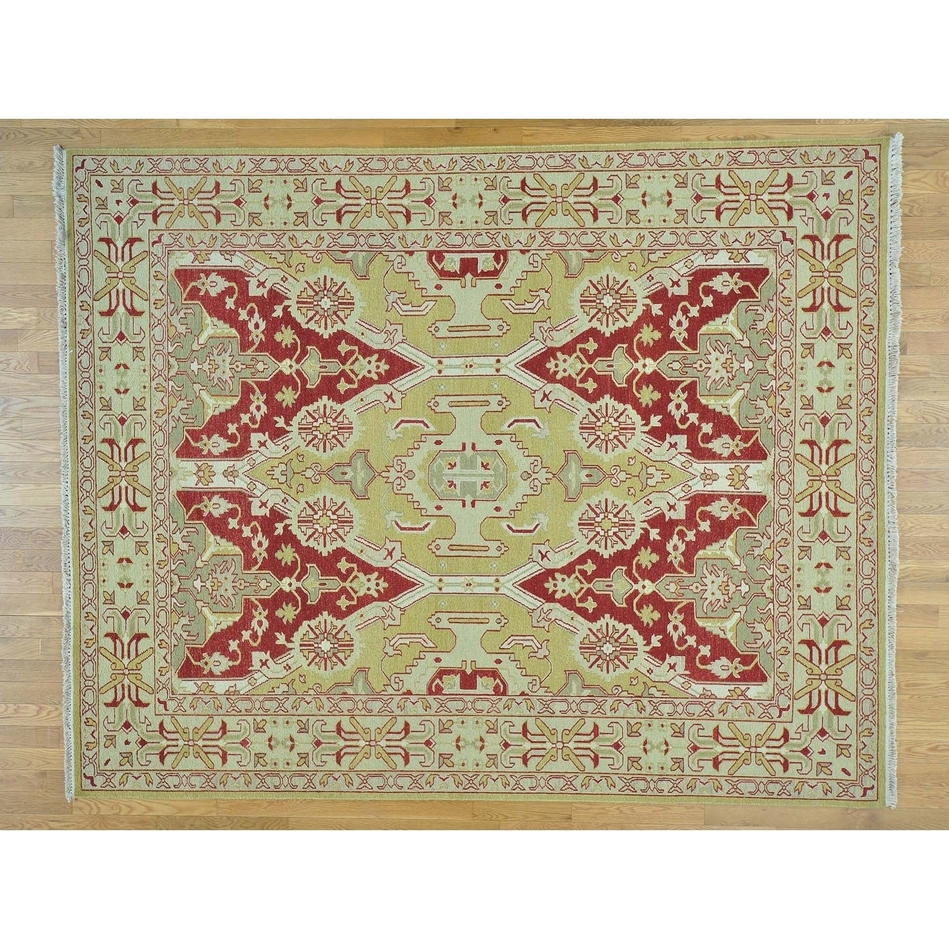Hand Knotted Red Clearance with Wool Oriental Rug - 8 x 10