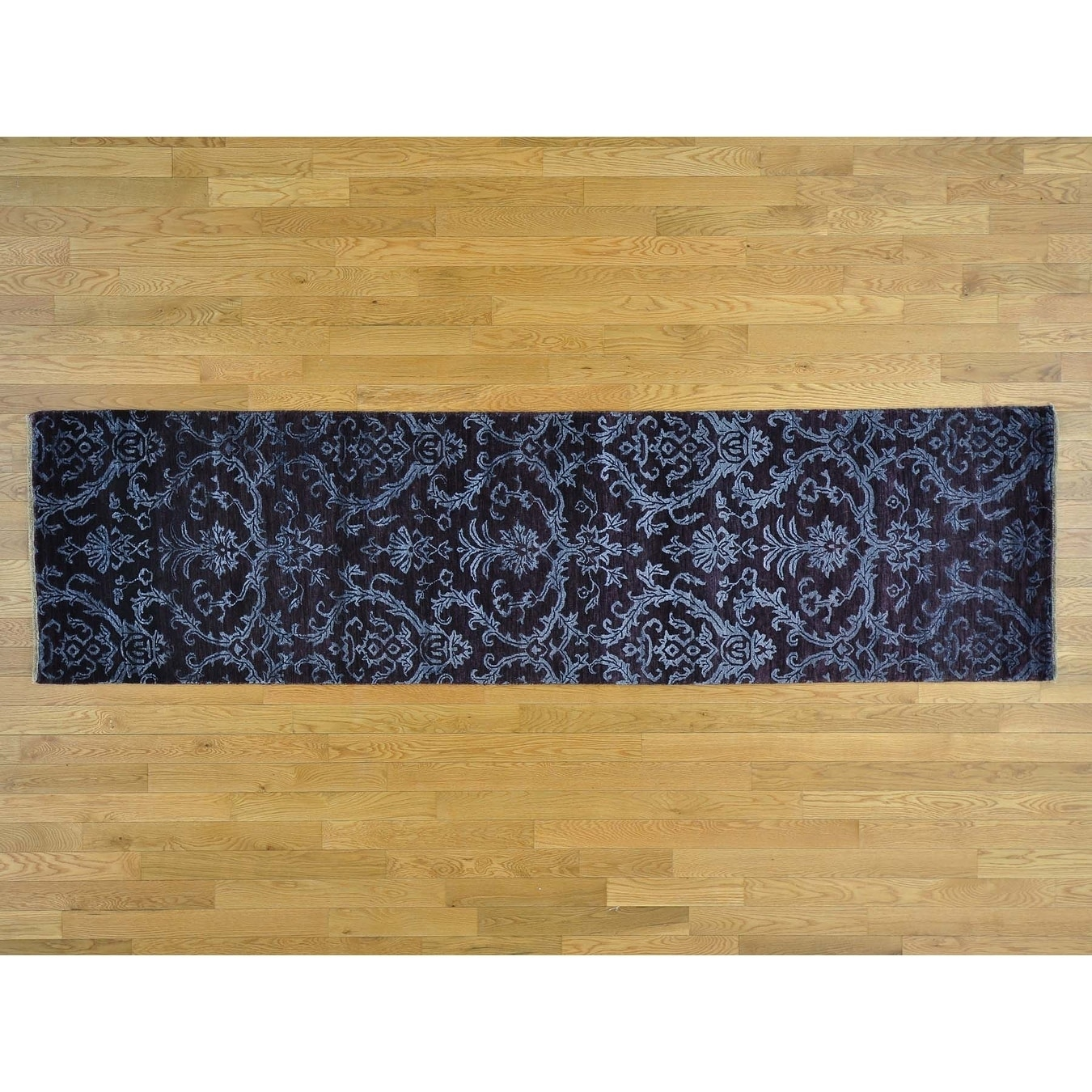 Hand Knotted Purple Modern & Contemporary with Wool & Silk Oriental Rug - 27 x 96