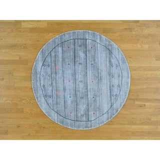 Hand Knotted Grey Modern & Contemporary with Wool & Silk Oriental Rug (5' x 5')
