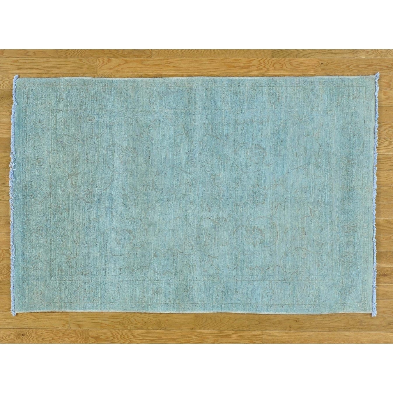 Hand Knotted Blue Oushak And Peshawar with Wool Oriental Rug - 4 x 61