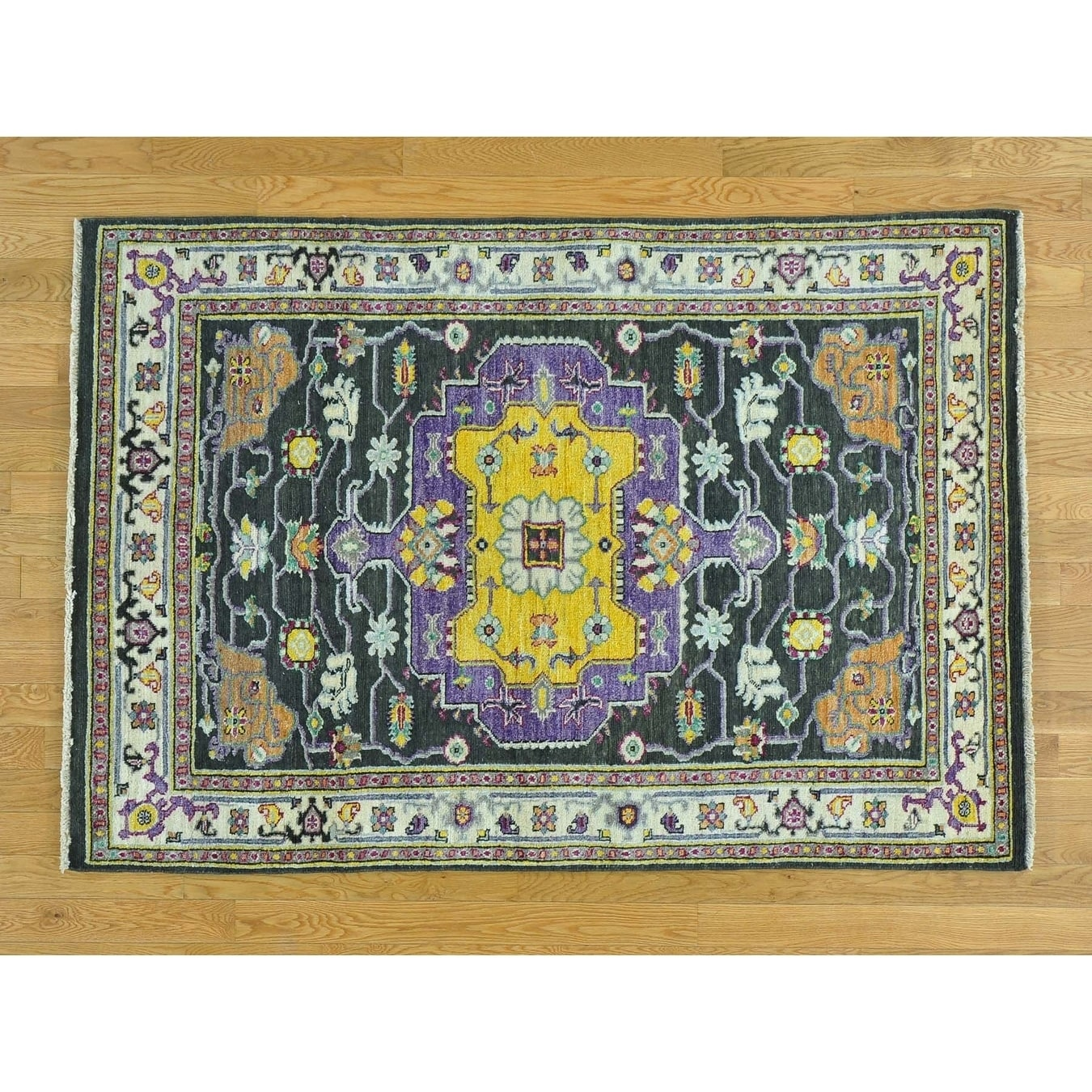 Hand Knotted Black Heriz with Wool Oriental Rug - 42 x 6