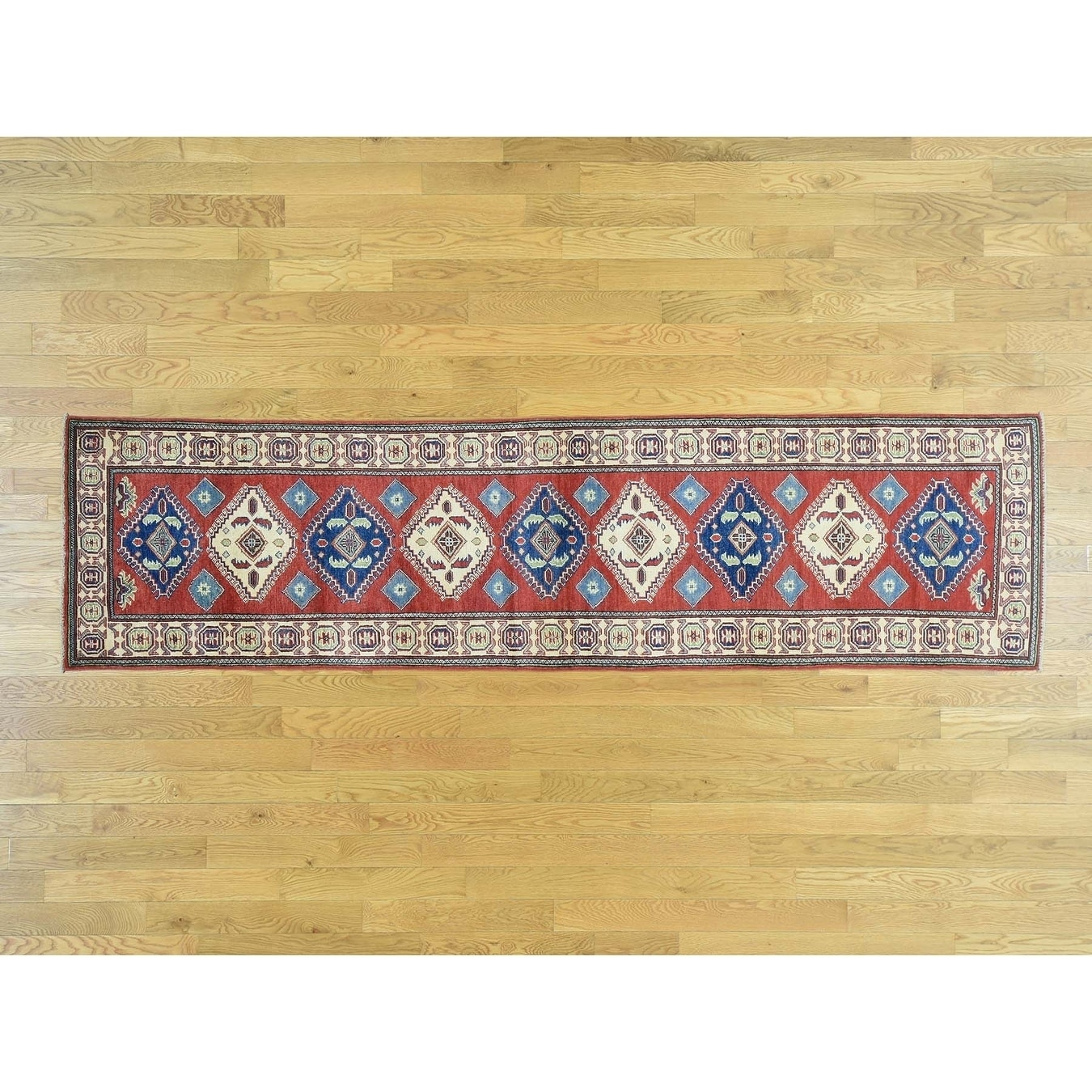 Hand Knotted Red Kazak with Wool Oriental Rug - 28 x 103