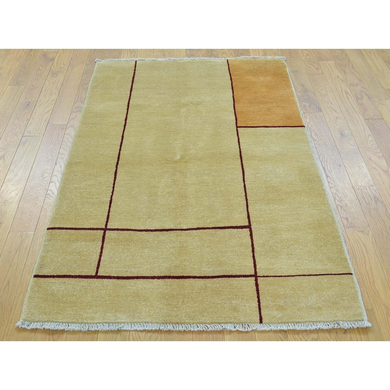 Hand Knotted Beige Clearance with Wool Oriental Rug - 31 x 52