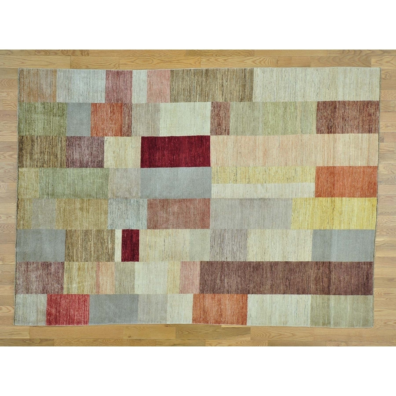Hand Knotted Multicolored Clearance with Wool Oriental Rug - 69 x 95