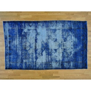 Hand Knotted Blue Overdyed & Vintage with Wool Oriental Rug - 5'5 x 9'3