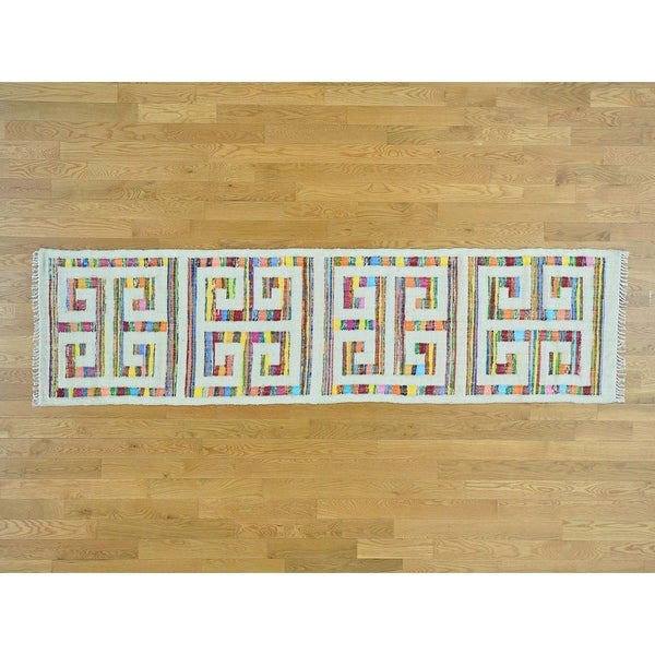 Hand Knotted Multicolored Flat Weave with Cotton Oriental Rug - 2'7 x 9'8