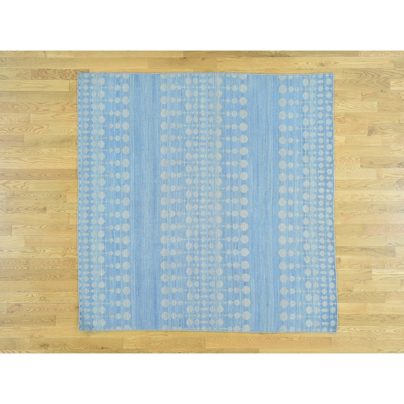 Hand Knotted Blue Flat Weave with Wool Oriental Rug - 63 x 63
