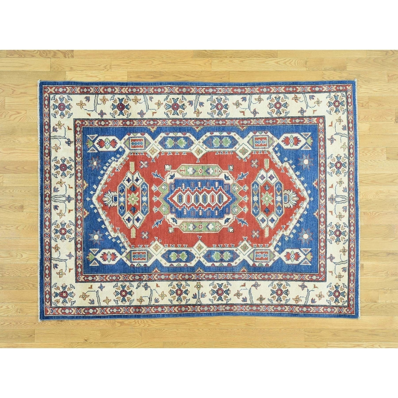 Hand Knotted Red Kazak with Wool Oriental Rug - 5 x 68