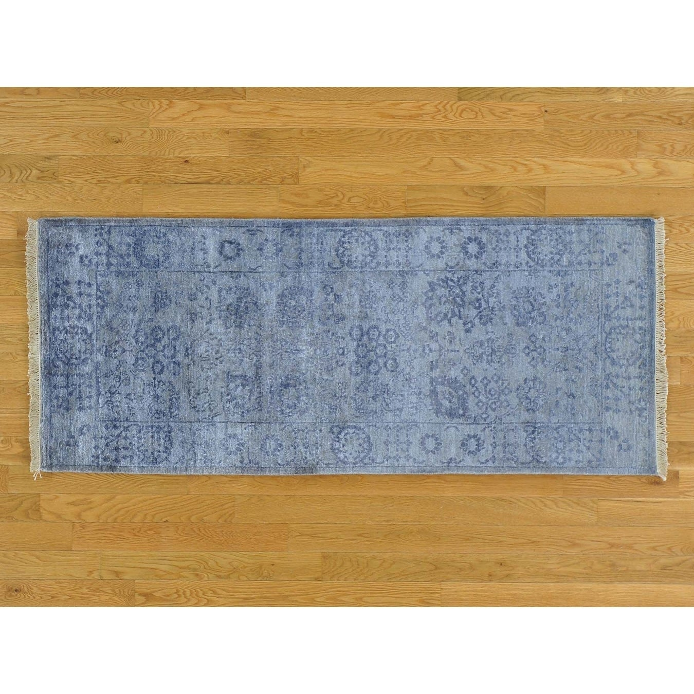 Hand Knotted Grey Modern & Contemporary with Wool & Silk Oriental Rug - 26 x 6