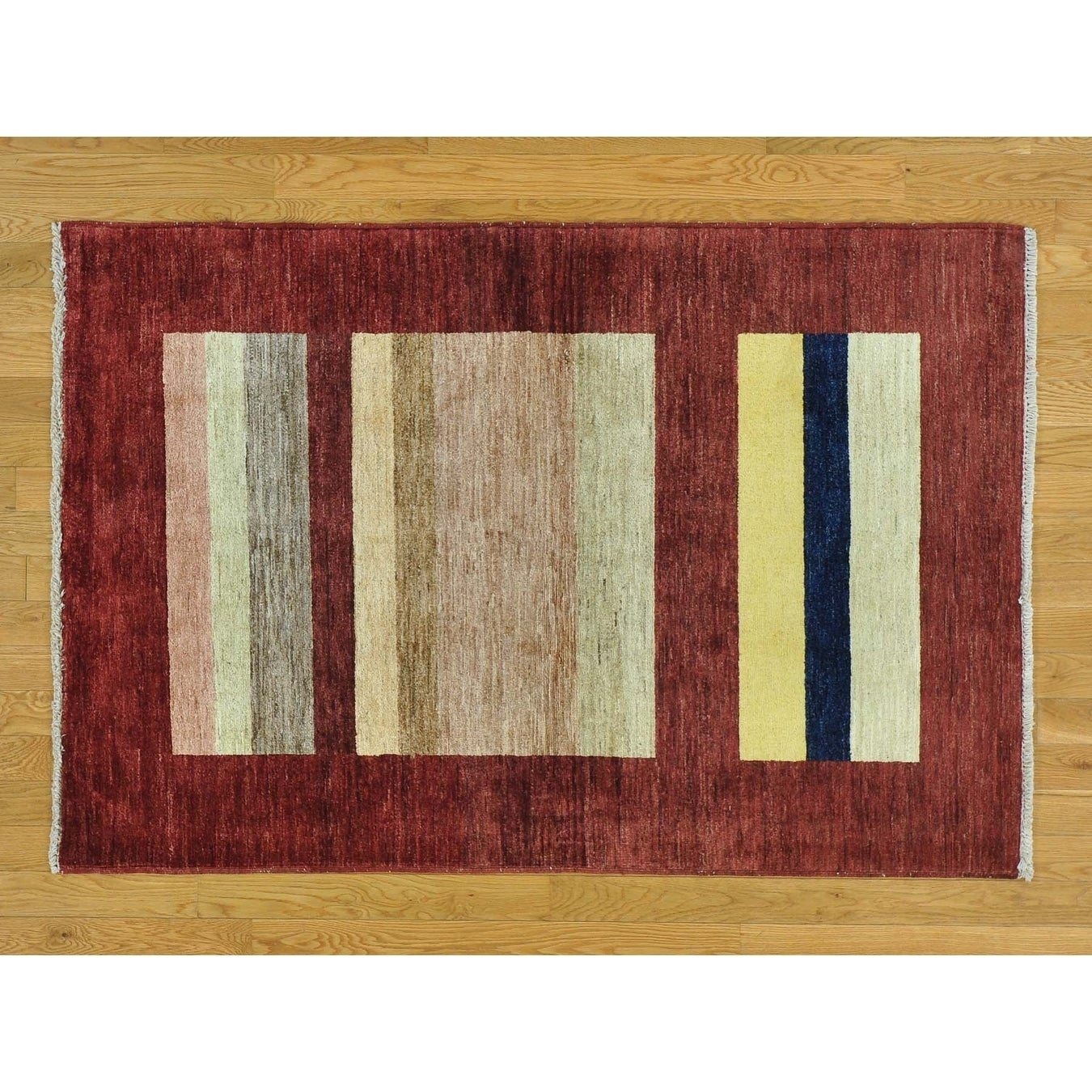 Hand Knotted Multicolored Clearance with Wool Oriental Rug - 4 x 510