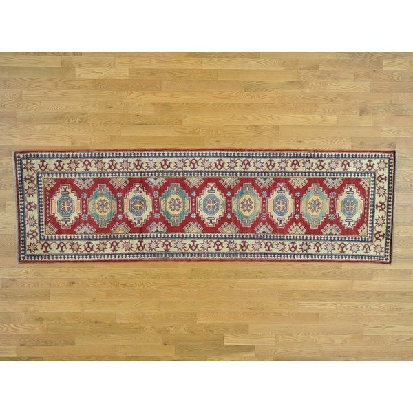 Hand Knotted Red Kazak with Wool Oriental Rug - 2'9 x 9'3