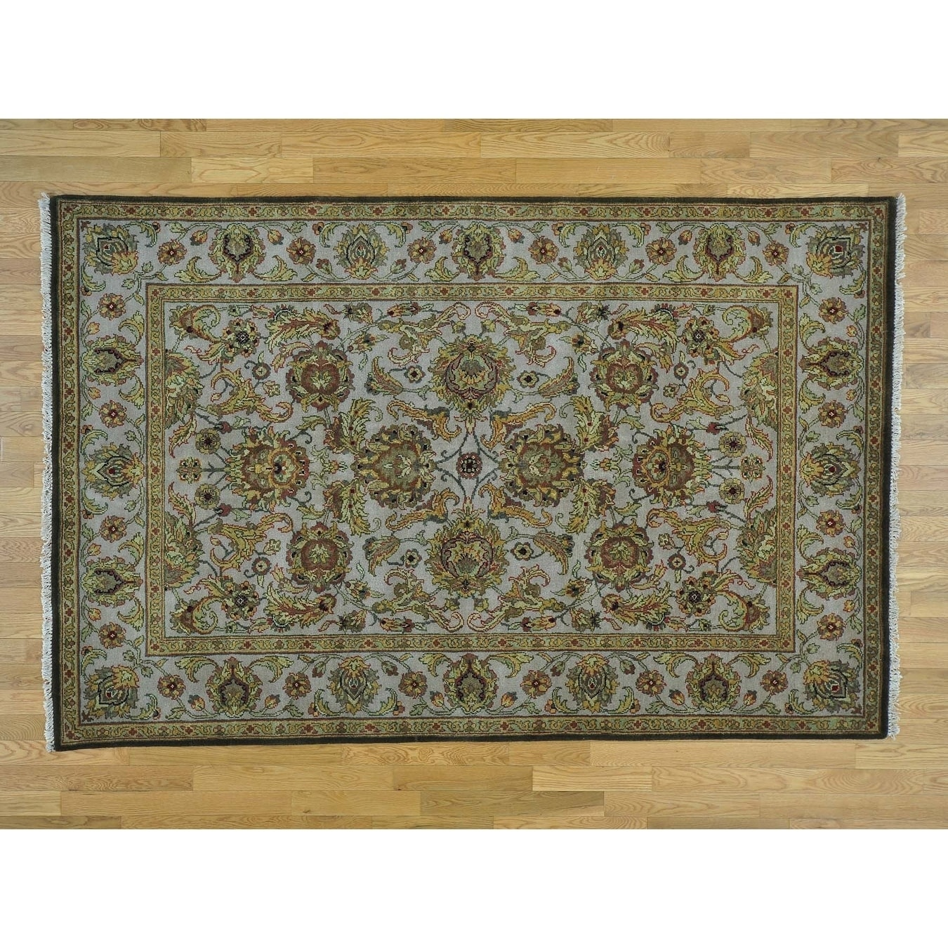 Hand Knotted Grey Rajasthan with Wool Oriental Rug - 59 x 9
