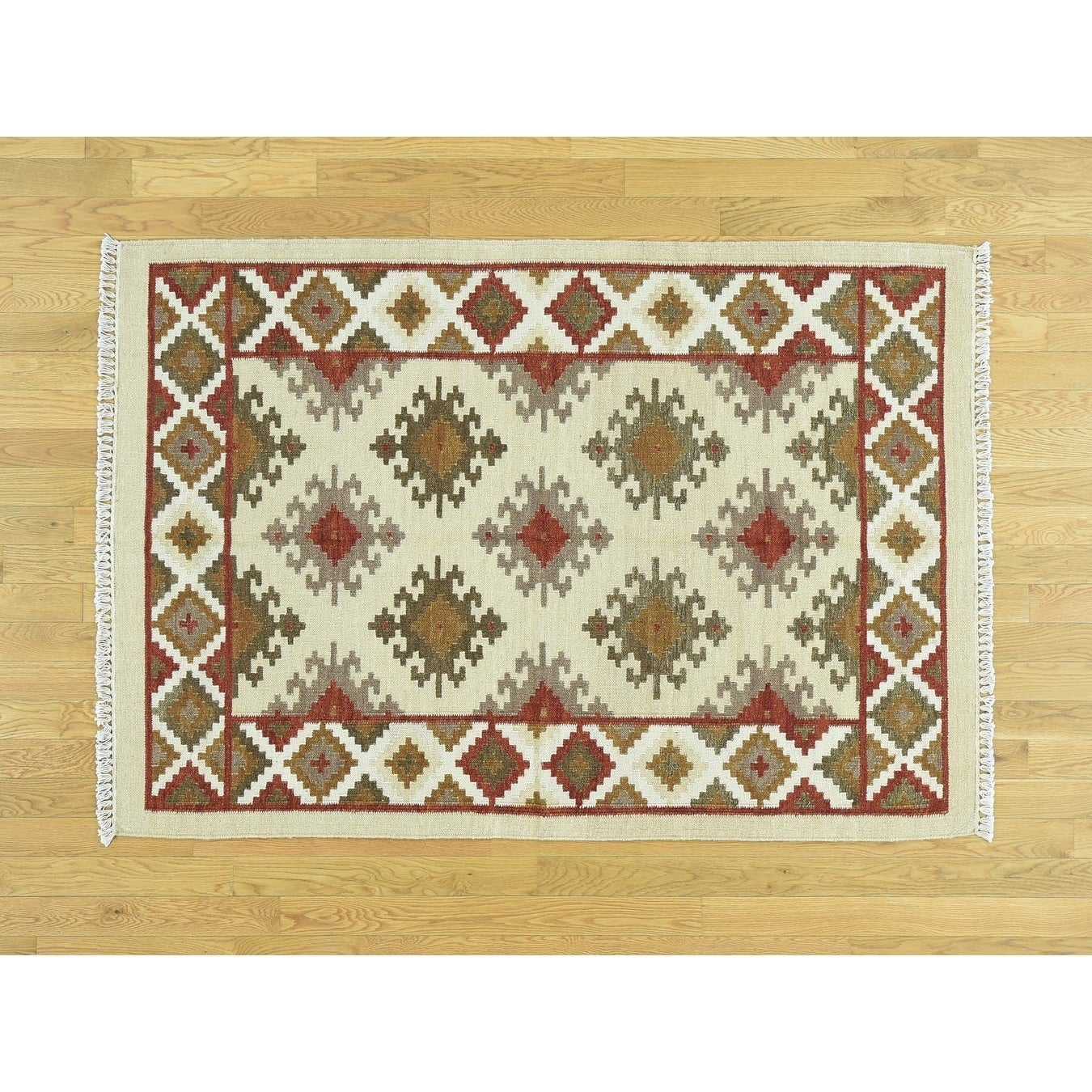Hand Knotted Beige Flat Weave with Wool Oriental Rug - 42 x 6