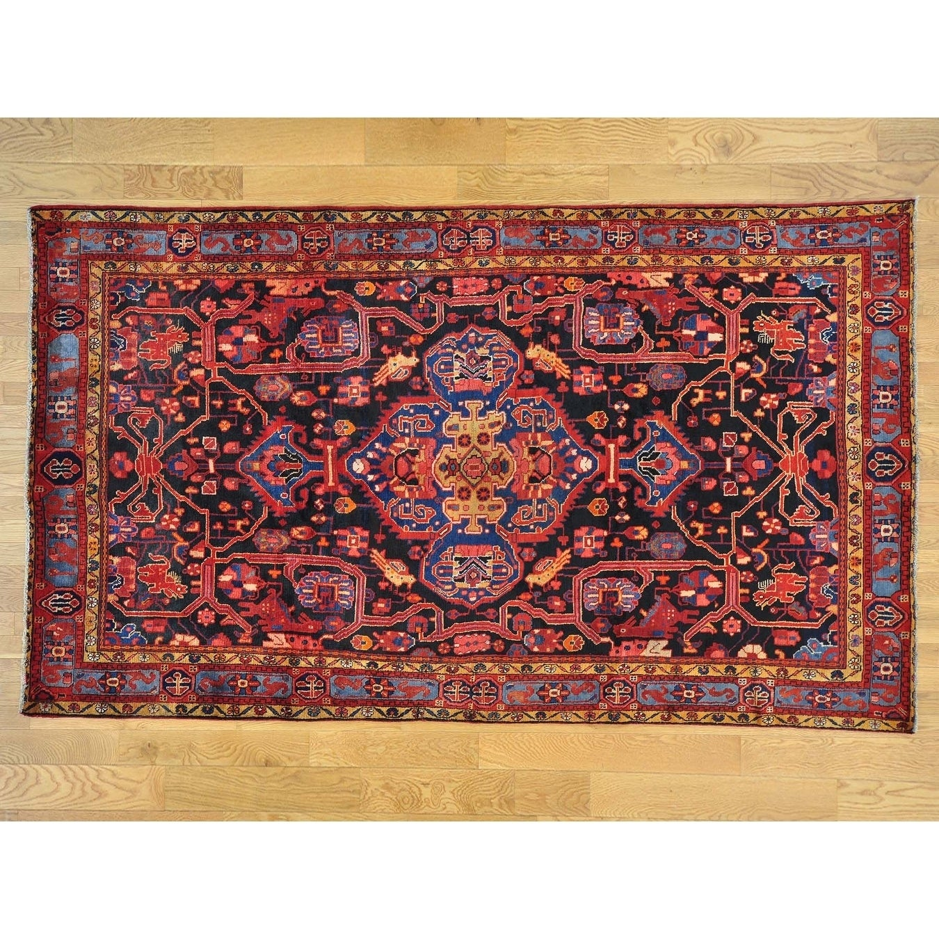 Hand Knotted Blue Persian with Wool Oriental Rug - 61 x 104